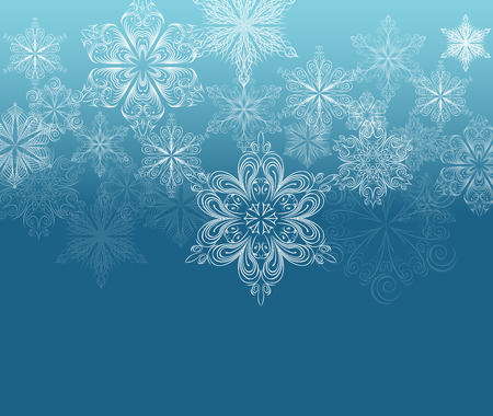 beautify: Winter ornament background, white snowflakes on dark cyan gradient
