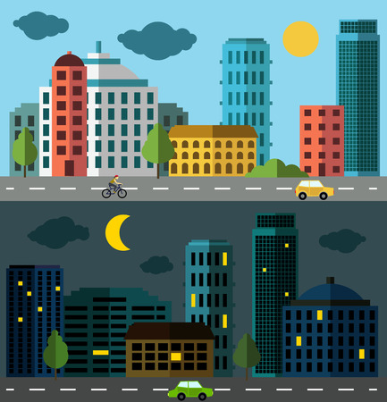 bulding: City panorama set, two colored panoramic pictures of city scape Illustration