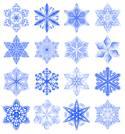 beautify: Snowflake set, blue ornaments isolated on white background