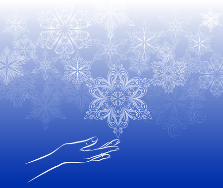 curle: Touch snowflake background, hand touching the snowflake, on blue gradient