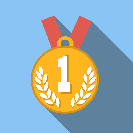 long: 1st place medal flat icon, colored flat image with long shadow on blue background Illustration