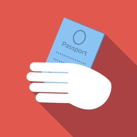 passeport: Tenez passeport icône, image plate de couleur sur fond rouge