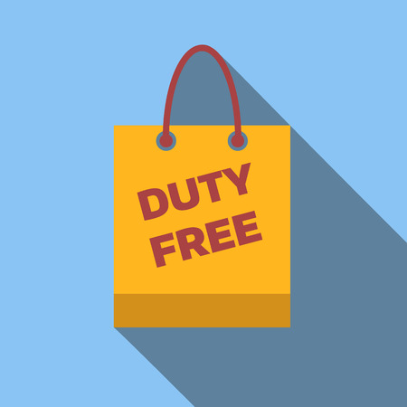 duty free: Duty-free bag icon, flat colored image on blue background
