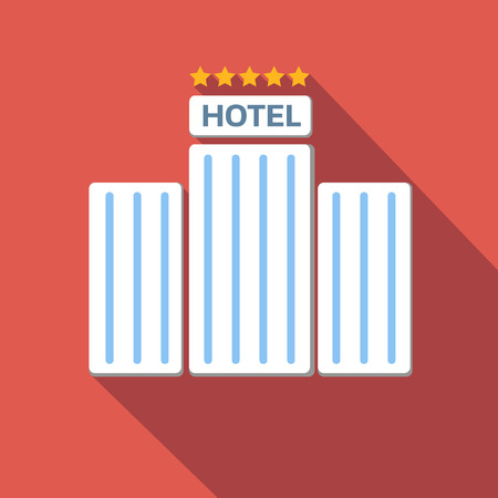 page long: Hotel icon, flat colored image on red background