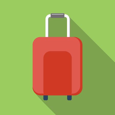 valigia: Icona Valigia, immagine colorata piatto su sfondo verde Vettoriali
