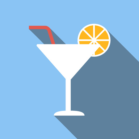cocktail straw: Cocktail icon, flat colored image on blue background