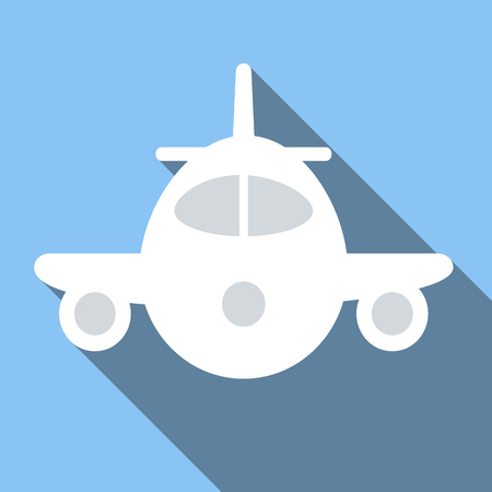 airplane wing: Plane icon, flat colored image on blue background