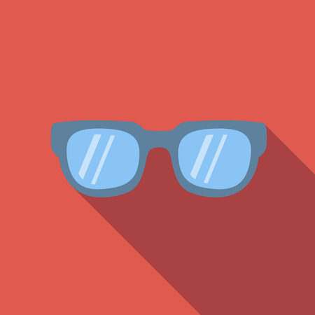 page long: Sunglasses icon, flat colored image on red background Illustration