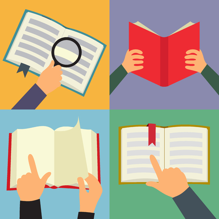 red  open: Reading book icon set, four flat images with book and hands on colored background