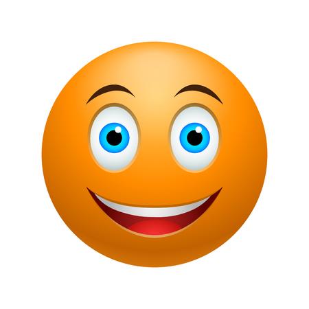 sonrisa: Emoticon sonrisa, imagen de color con la cara emocional aislado en blanco Vectores