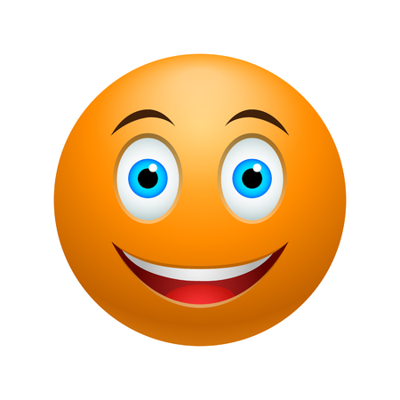 smile happy: Smile emoticon, colored picture with emotional face isolated on white