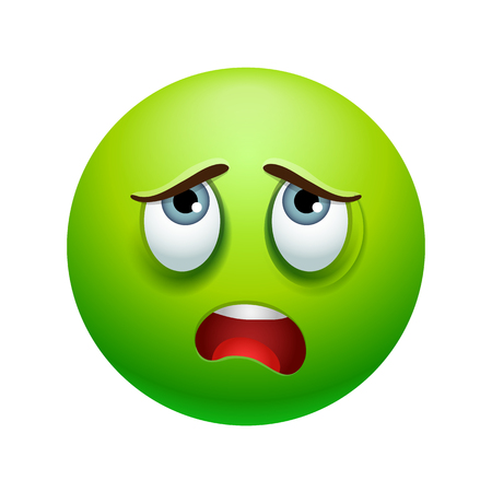 Tired emoticon, colored picture with emotional face isolated on white