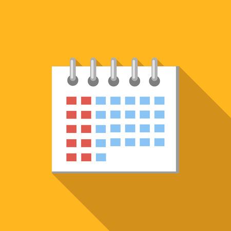 Kalender flat icon, gekleurd vlak beeld met een lange schaduw op gele achtergrond