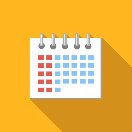 Calendar flat icon, colored flat image with long shadow on yellow background Illustration