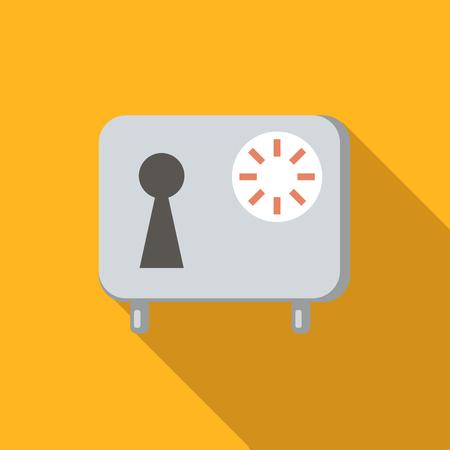 caja fuerte: icono de imagen plana plana segura, coloreado con una larga sombra sobre fondo amarillo