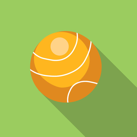 curvilinear: Tennis ball flat icon, colored flat image with long shadow on green background