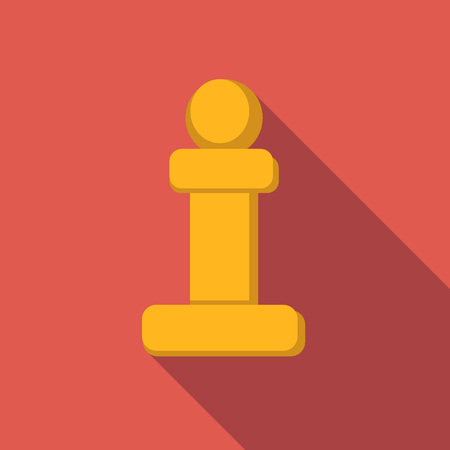 strategical: Chess pawn flat icon, colored flat image with long shadow on red background