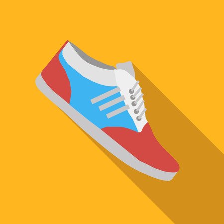 outsole: Sport shoes flat icon, colored flat image with long shadow on yellow background