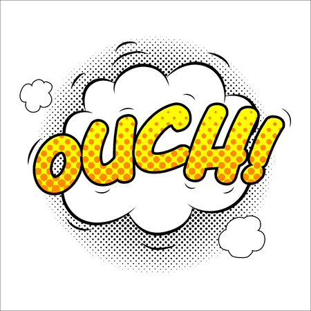 Ouch sound effect illustration, word and cloud picture isolated on white