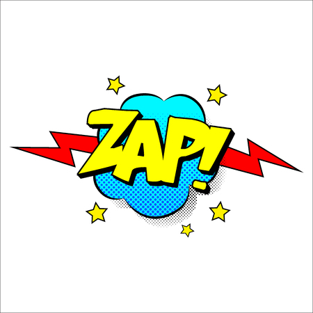 zap: Zap sound effect illustration, word and cloud picture isolated on white