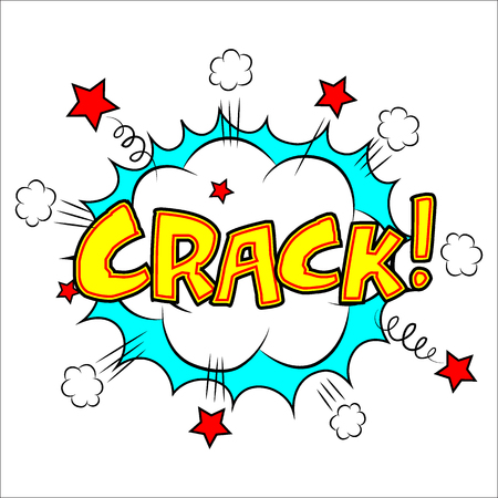 cartooning: Crack sound effect illustration, word and cloud picture isolated on white Illustration