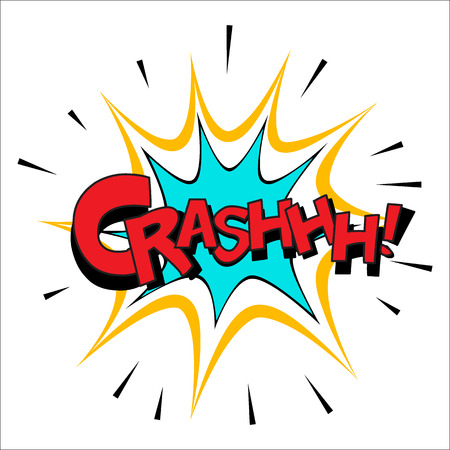 Crash sound effect illustration, word and blast picture isolated on white Illustration