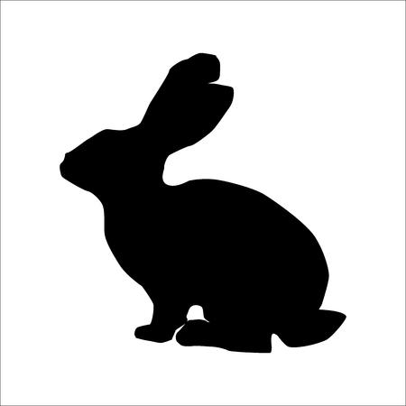 silhouette lapin: Lapin silhouette, image de noir animal isolé sur blanc