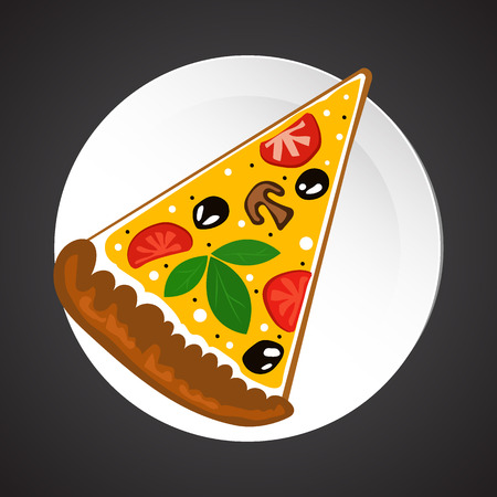 melted cheese: Pizza illustration, dish plate isolated on black Illustration