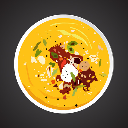 soup: Soup illustration, dish plate isolated on black
