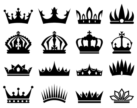 govern: Crowns silhouette set, collection of black silhouettes on white background Illustration