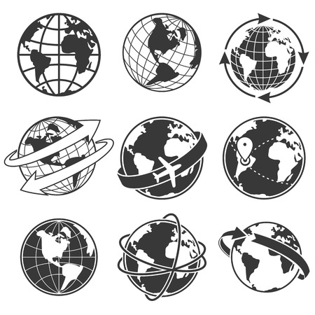 wereldbol: Globe zwart-wit beeld op witte achtergrond concept illustratie set, Stock Illustratie