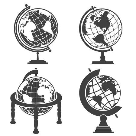 globe terrestre dessin: Globe terrestre illustration set, image monochrome sur fond blanc Illustration