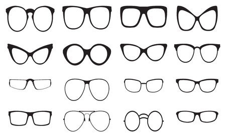 cat eye: Eyeglasses silhouette set, collection of black silhouettes on white background Illustration