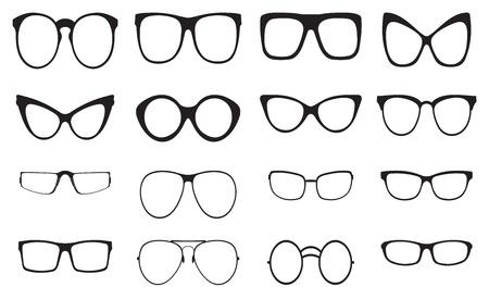 cat's eye glasses: Eyeglasses silhouette set, collection of black silhouettes on white background Illustration