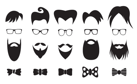 white hair: Hipster elements silhouette set, collection of black silhouettes on white background