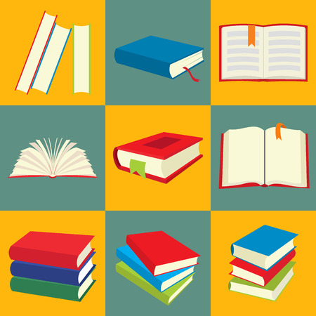 stack: Book icon set, nine flat images on colored background Illustration
