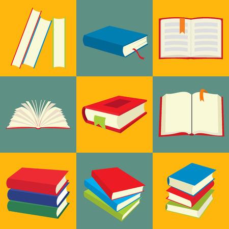 libros abiertos: Conjunto de iconos de libro, nueve imágenes planas en el fondo de color