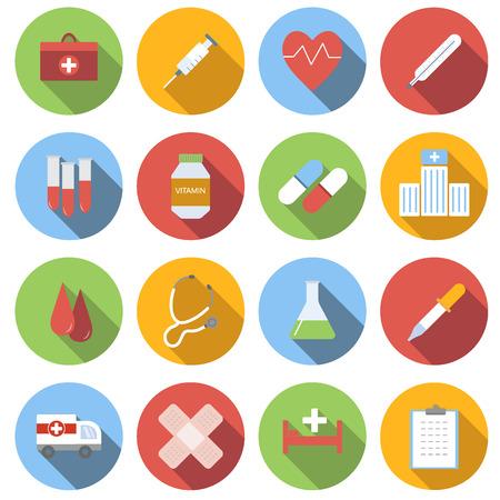 Médecine, icône, ensemble, rondes icônes plat sur fond blanc