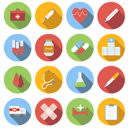 Medicine icon set, flat round icons on white background Ilustração