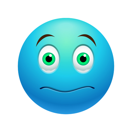stunned: Stunned emoticon, colored picture with emotional face isolated on white