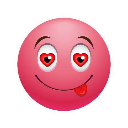사랑 이모티콘 있음, 흰색으로 격리 감정적 인 얼굴로 컬러 그림