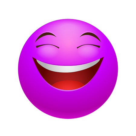 representations: Laughing emoticon, colored picture with emotional face isolated on white