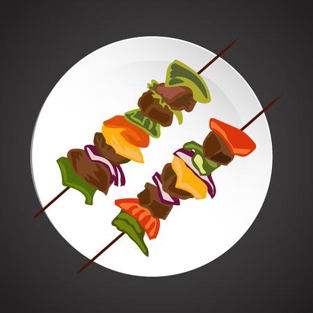 kebab: Shish-kebab illustration, dish plate isolated on black