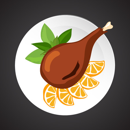 shin: Turkey shin illustration, dish plate isolated on black Illustration