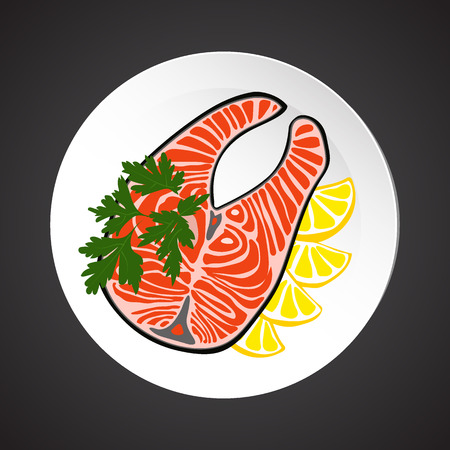 salmon steak: Salmon steak illustration, dish plate isolated on black