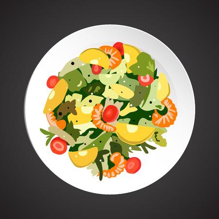 species plate: Shrimp salad illustration, dish plate isolated on black