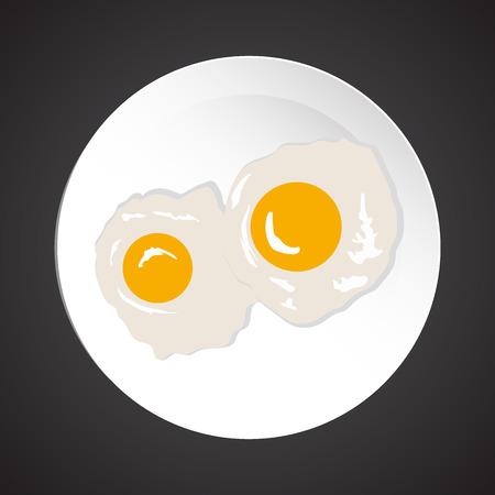 diningroom: Fried eggs illustration, dish plate isolated on black Illustration
