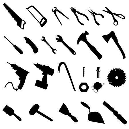 pincer: Tools silhouette set, collection of black silhouettes on white background Illustration