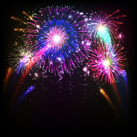 Vuurwerk illustratie, zwarte achtergrond met vuurwerk