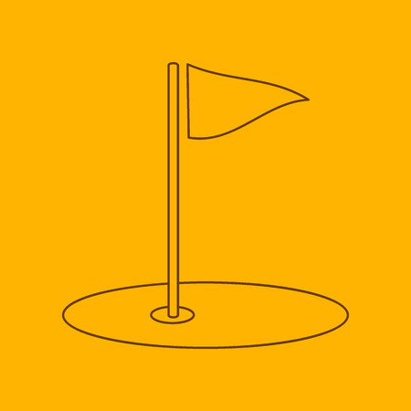 Golf field line icon, thin contour on yellow background